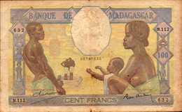 MADAGASCAR Banque De Madagascar 100 FRANCS De 1937nd  Pick 40 - Madagascar