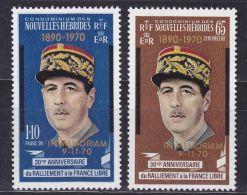 Nouvelles Hebrides, 1971, De Gaulle, MNH Overprinted, Michel 303-304 - New Hebrides - New Hebrides