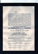 Victor De Formanoir De La Cazerie De Pred'homme D'Hailly De Nieuport Et Ysebrant De Lendoncq Bourgmestre Templeuve +1888 - Todesanzeige