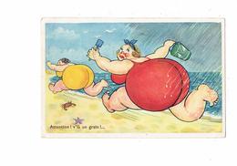 Humour - Illustration Grosse Femme Plage Sable Crabe étoile De Mer Pluie Orage - N°15 Artaud - 1967 - Humour