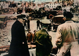 CPSM 14 CAEN JUIN 1944 Sir WINSTON CHURCHILL Accompagné Par Le Général MONTGOMERY Et Sir Miles DEMPSEY à CAEN - Caen