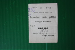 BIGLIETTO  PARCHEGGIO RAVELLO - 1967 - Non Classificati