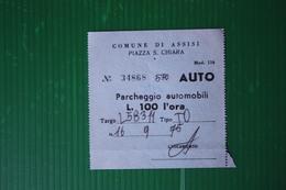 BIGLIETTO  PARCHEGGIO ASSISI - 1975 - Non Classificati