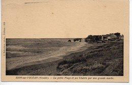 Sion Sur L'Océan : La Petite Plage Et Ses Chalets Par Une Grande Marée - France