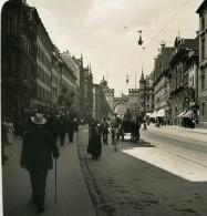 Allemagne Munich Neuhauser Strasse München Ancienne Photo Stereo NPG 1900 - Stereoscopic