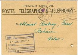 O.MEC PARIS 91 PP SUR IMPRIME NOUVEAUX TARIFS PTT  PERFORATIONS LATERALES D'ARCHIVE - Marcophilie (Lettres)