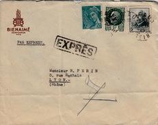 FRANCE - 1943 LETTRE EXPRESS PARIS POUR LYON - MERCURE ET PETAIN