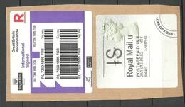 Great Britain 2016 Elizabeth II Postage Paid + Registration Label On Cover Cut Out - 1952-.... (Elizabeth II)