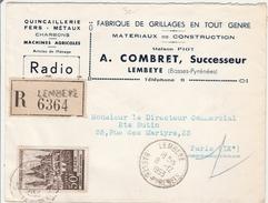 Lembeye 1953 - Lettre Recommandé Avec étiquette - Quincaillerie - Marcophilie (Lettres)