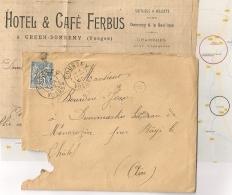Boite B, GREUX - DOMREMY, COUSSEY Vosges Sur LAC SAGE. 1899. HOTEL CAFE FERBUS - Postmark Collection (Covers)