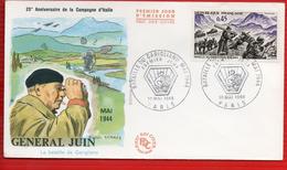 FDC  HOMMAGE AU MARECHAL DE FRANCE ALFONSE JUIN  PARIS 10 5 1969 - Seconda Guerra Mondiale