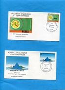 Marcophilie-nouvelle Calédonie-2enveloppes Illustrées FDC-StampsN°487 Nature+A254 ARAN NC - Briefe U. Dokumente