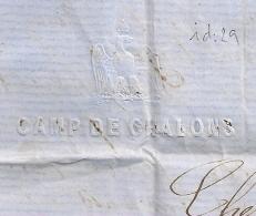 RARE Origine CAMP DE CHALON, PC 4114 MOURMELON LE GRAND Marne Pour BAGE LE CHATELLE. Ain. 1859. 7 SCANS - Marcophilie (Lettres)