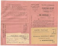 IMPRIMES * SOMMIERES PP * Gard. Superbe Ensemble Publicitaire VIN JEANJEAN - BEZUT. 1897. - Publicités