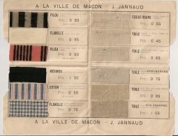 RARE Document Publicitaire Avec 12 échantillon De Tissus. A LA VILLE DE MACON. Saone Et Loire. - Advertising