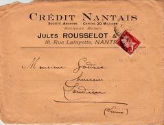 FRANCE DEVANT DE LETTRE NANTES POUR LOUDUN - CREDIT NANTAIS JULES ROUSSELOT