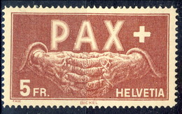 Svizzera 1945 Serie Pax N. 416 Fr. 5 Vinaceo Su Paglia MNH Cat. € 160 / FALSO - Svizzera