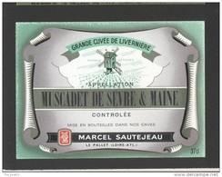 Etiquette De Vin Muscadet De Sèvre Et Maine - Cuvée De Livernière - M. Sautejeau à Le Pallet (44) - Moulin à Vent - Windmills