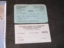 2 CARTES DE MEMBRE DE L'ASSOCIATION GENERALE DES JOURNALISTES DE ANTOINE DEMOL - 1979 ET 1980 - Vieux Papiers