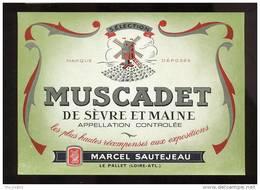 Etiquette De Vin Muscadet De Sèvre Et Maine  -  M. Sautejeau  Le Pallet  (44)  -  Moulin à Vent - Windmills