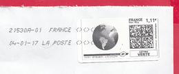 France - 2016- MONTIMBRENLIGNE -  Enveloppe C5 - PLANETE NOIR ET BLANC - 04/01/17 - Cartas
