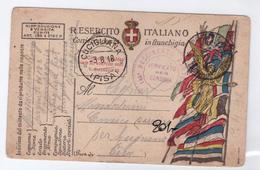 CARTOLINA POSTALE - ITALIA - ANNO 1918 - POSTA MILITARE - VERIFICATO PER CENSURA - CUCIGLIANA - 146° REGGIMENTO FANTERIA - 1900-44 Victor Emmanuel III