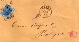 1873  LETTERA CON ANNULLO  NUMERALE PESARO + BOLOGNA - 1861-78 Vittorio Emanuele II