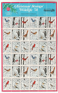 1974 USA -COMPLETE SHEET - 36 X WILDLIFE Federation CHRISTMAS LABELS Bird Woodpecker Finch Jay Sparrow Cardinal Bird MNH - Cinderellas