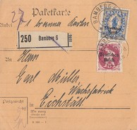 DR Paketkarte Mif Minr.127,130 Bamberg 1.6.20 - Covers & Documents
