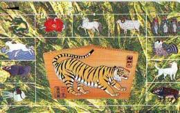 Télécarte JAPON * ZODIAQUE * TIGRE (652) TIGER * HOROSCOPE * PHONECARD JAPAN * TELEFONKARTE STERNZEICHEN TIJGER - Zodiac