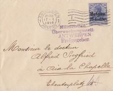 Dt. Besetzung Belgien Brief EF Minr.4 Antwerpen 17.1.16 Zensur - Besetzungen 1914-18