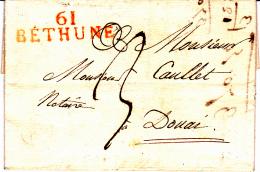 61 PAS De CALAIS - BETHUNE - 1822 - Marcofilia (sobres)