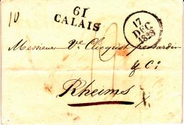 61 PAS De CALAIS - CALAIS - 1828 - Marcofilia (sobres)