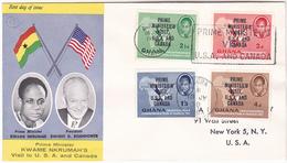 1958 GHANA FDC Prime Ministers USA VISIT OVPT On BIRD Stamps  Cover Birds Flag - Ghana (1957-...)