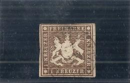 Allemagne - Wurttemberg - N° 11 TTB Obl  Côte 150,00€ 2eime Choix Déchirure - Wurtemberg