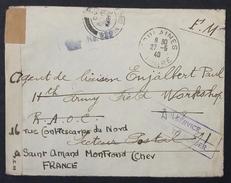 Env > AGENT DE LIAISON 11th Army BRITISH EXPEDITIONARY FORCE Obl Poste Aux Armées N°91 1er Juin 1940 Franchise Militaire - Marcophilie (Lettres)