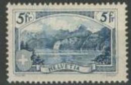 Svizzera 1928 N. 230 Fr. 5 Azzurro Vedute (firma Incisore A Destra) MLH Cat. € 200 - Svizzera