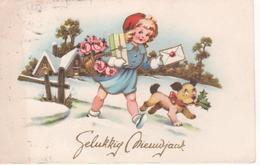 Chien Accompagnant Une Petite Fille Avec Les Cadeaux - Gelukkig Nieuwjaar - Dogs
