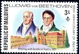 Composers, Goethe And Beethoven, Maldive Islands Stamp SC#671 Mint - Maldives (1965-...)
