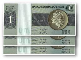 BRASIL - 3x Consecutive 1 CRUZEIRO - ND ( 1970 -72 ) - P 191 - UNC. - Serie 555 - Sign. 17 - Prefix A - LIBERTY - Brasil