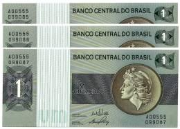 BRASIL - 3x Consecutive 1 CRUZEIRO - ND ( 1970 -72 ) - P 191 - UNC. - Serie 555 - Sign. 17 - Prefix A - LIBERTY - Brésil