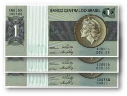BRASIL - 3x Consecutive 1 CRUZEIRO - ND ( 1970 -72 ) - P 191 - UNC. - Serie 555 - Sign. 17 - Prefix A - LIBERTY - Brazil