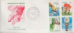 Enveloppe  1er  Jour   SENEGAL    Coupe  D´ Afrique  Des  Nations   RABAT   1988