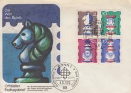 Enveloppe  FDC  1er  Jour  ALLEMAGNE   Piéces  De   Jeu  D' Echecs  1972 - Echecs
