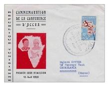 PREMIER JOUR D´EMISSION COMMEMORATIOJ DE LA CONFERENCE D´ACCRA  DU 15/04/1959  LETTRE ECRITE  POU MAROC - Morocco (1956-...)