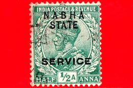 India - NABHA - Usato - 1914 - Servizio - Re George V - ½ - Nabha