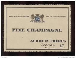 Etiquette De   Fine  Champagne  -  Audouin  à  Saint Jean D´Angély  (17)  -  11.8 X 8.5 Cm - Sin Clasificación