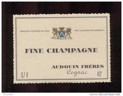 Etiquette De   Fine  Champagne  -  Audouin  à  Saint Jean D´Angély  (17)  -  9.3 X 6.7 Cm - Sin Clasificación