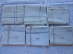 Lot De 6 Mouchoirs Anciens Blancs à Bordure - Initiales Brodées M G - - Mouchoirs