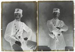 2 Photos-plaques De Verre Sergent De Ville En Tenue & Sacoche Revolver Agent Police Armé GP Unité Sur Cols 18x13cm - Plaques De Verre